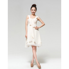 Designer Empire Straps Ruched Chiffon Short Reception Dress for Summer Beach Wedding