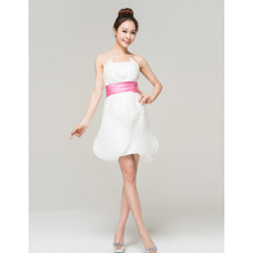 Simple Cheap Informal Organza Strapless Short Reception Wedding Dress