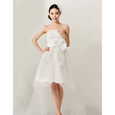 Cheap Stylish Romantic High-Low Organza Strapless Garden Wedding Dress