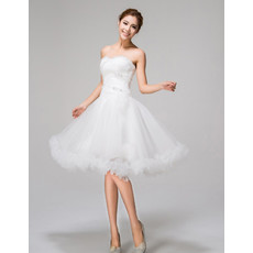 Amazing Charming A-Line Sweetheart Knee Length Ruffled Organza Garden Wedding Dress with Beaded