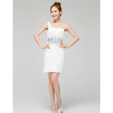 Stylish Modern Column/ Sheath One Shoulder Ruched Chiffon Short Reception Wedding Dress for Summer