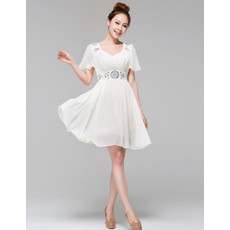 Charming Modern A-Line Short Beach Chiffon Wedding Dress with Flutter Sleeves
