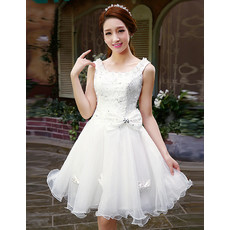 Affordable Stunning A-Line Organza Short Reception Wedding Dress with Beaded Applique