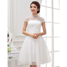 Affordable Elegant Mandarin Collar A-Line Lace Backless Short Reception Wedding Dress with Cap Sleeves