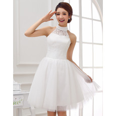 Affordable Charming Collar Neck Lace Organza Short Reception Wedding Dress