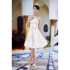 Best Stylish A-Line Strapless Satin Knee Length Beach Reception Wedding Dress with Bow