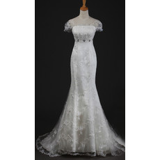 Custom Amazing Mermaid Short Sleeves Organza Sweep Train Wedding Dress