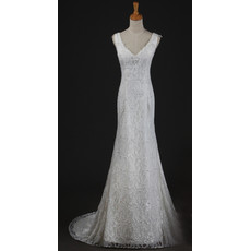Custom Elegant Lace V-Neck Mermaid Sweep Train Spring Wedding Dress