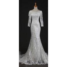 Cheap Elegant Long Sleeves Lace Mermaid Sweep Train Wedding Dress