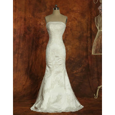 Custom Vintage Mermaid Strapless Satin Sweep Train Wedding Dress
