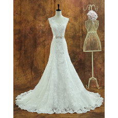 Custom Elegant Organza Sweetheart Chapel Train A-Line Wedding Dress