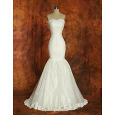 Custom Designer Mermaid Organza Sweetheart Brush Train Dress for Wedding