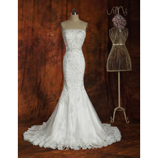 Custom Designer Mermaid Court Train Strapless Satin Wedding Dress