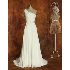 One Shoulder Chiffon A-Line Brush Train Wedding Dress