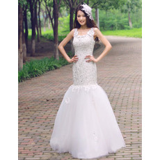 Cheap Timeless Mermaid/ Trumpet Lace Floor Length Wedding Dress