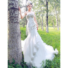 Cheap Luxury Mermaid Court Train Strapless Satin Dress for Wedding