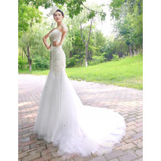Cheap Gorgeous Mermaid Sweetheart Court Train Organza Wedding Dress