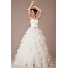 Custom Cheap Luxury A-Line Sweetheart Organza Floor Length Wedding Dress