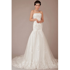 Classic Mermaid/ Trumpet Court Train Strapless Organza Wedding Dress