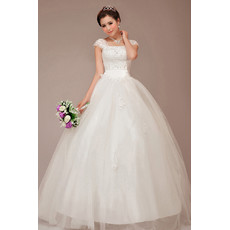 Cheap Stunning Cap Sleeves Square Ball Gown Floor Length Wedding Dress