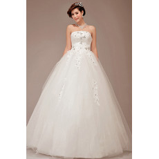 Cheap Classic Ball Gown Strapless Floor Length Organza Wedding Dress