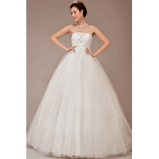 Cheap Classic Fit and Flare Strapless Ball Gown Floor Length Organza Wedding Dress