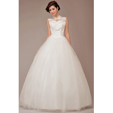 Cheap Modest Fit and Flare Mandarin Collar Organza Ball Gown Long Wedding Dress