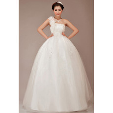 Cheap Stunning Fit and Flare One Shoulder Ball Gown Floor Length Wedding Dress