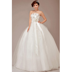 Cheap Classic Strapless Ball Gown Organza Wedding Dress with Sashes