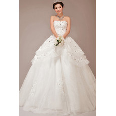Cheap Stunning Tiered Skirt Ball Gown Strapless Long Wedding Dress