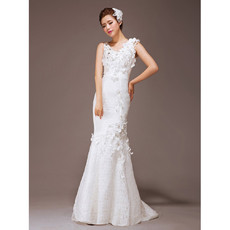 Cheap Gorgeous Mermaid/ Trumpet Lace Sweep Train Wedding Dress