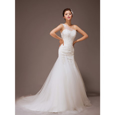 Cheap Romantic One Shoulder Mermaid Organza Court Train Wedding Dress