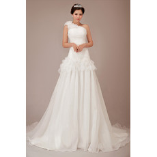 Beautiful Charming One Shoulder Chiffon Chapel Train A-Line Wedding Dress