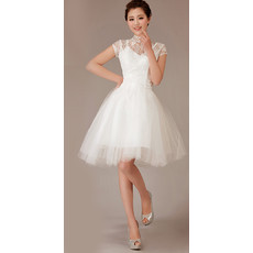 Cheap Beautiful Modest Mandarin Collar Short Sleeves Lace Short Reception Wedding Dress