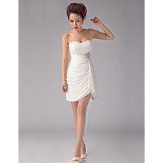 Women's Charming Sheath Sweetheart Chiffon Short Dress for Beach Wedding