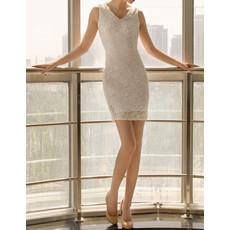 Cheap Sheath/ Column Lace V-Neck Short Beach Wedding Dress