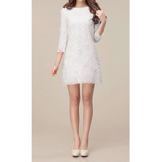 Simple Classic Long Sleeves Lace Sheath/ Column Short Beach Wedding Dress