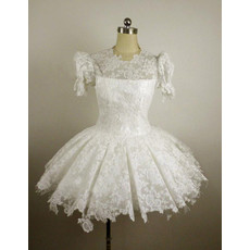 Cheap Vintage Lace Bubble Sleeves A-Line Short Reception Wedding Dress