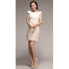 Informal Column Cap Sleeves Chiffon Short Beach Wedding Dress