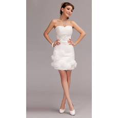 Cheap Designer Sweetheart Sheath Chiffon Short Beach Wedding Dress