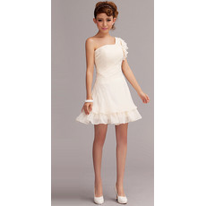 Timeless Charming One Shoulder Chiffon Short Beach Wedding Dress