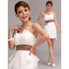 Affordable Charming Column Strapless Satin Short Beach Wedding Dress