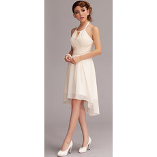 Inexpensive Chic Halter Chiffon Asymmetric Short Beach Wedding Dress