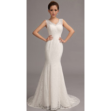 Classic and Modern Classy Lace Mermaid/ Trumpet V-Neck Sweep Train Wedding Dress