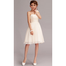 Simple One Shoulder Chiffon A-Line Short Beach Wedding Dress