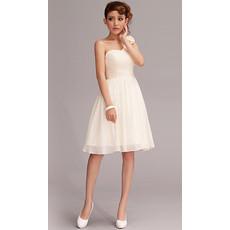 Simple One Shoulder Chiffon A-Line Short Beach Wedding Dress