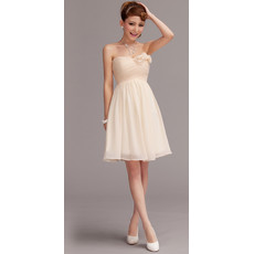 Beautiful A-Line Sweetheart Chiffon Short Beach Wedding Dress