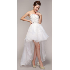 Beautiful Asymmetric High-Low One Shoulder Organza Wedding Dress
