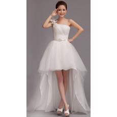 Romantic Asymmetric High-Low One Shoulder Organza Wedding Dress