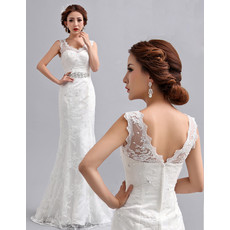 Designer Elegant Mermaid/ Trumpet Lace Floor Length V-Neck Wedding Dress